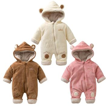 Winter Baby Romper Unisex Newborn Clothing Winter Flannel Bunting Outfits Thicken Coveralls Cartoon Hoodie Footies Bodysuit