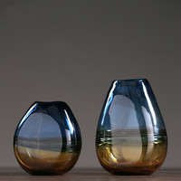 American minimalist colored glass vase decoration home living room TV cabinet water culture flower gift