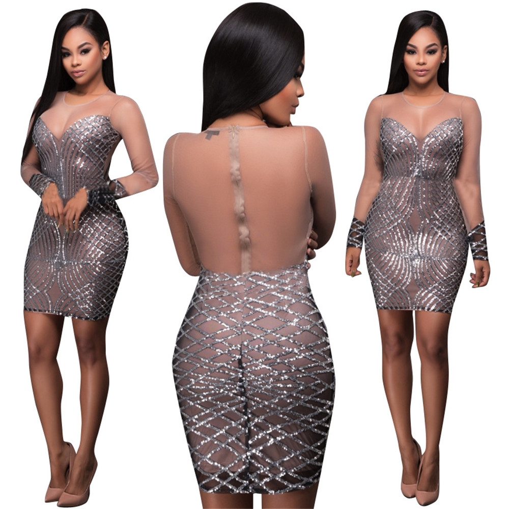 2017 Spring Summer Women Sexy Sequin Dresses See Through Vestidos Silver  Bandage Bodycon Party Night Club Dress New Arrivals-in Dresses from Women s  ... 77496b731983