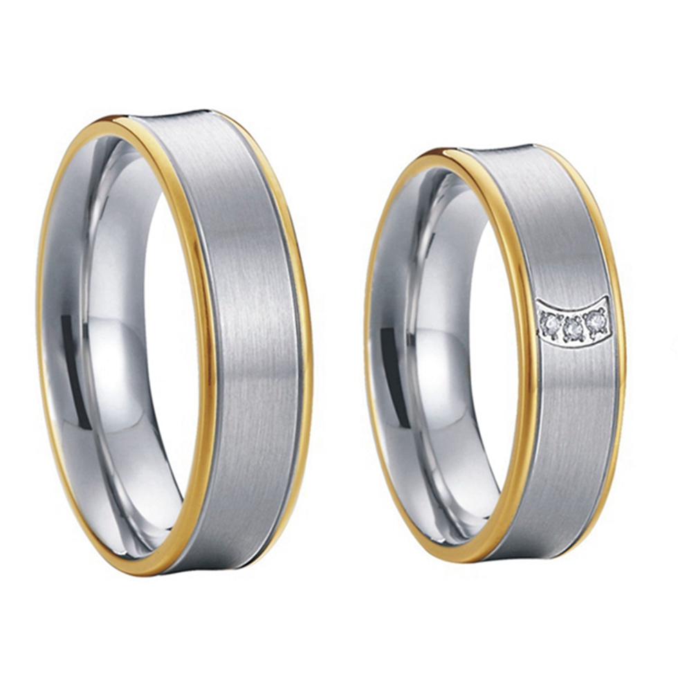 gold color alliances titanium steel promise rings wedding rings for couples