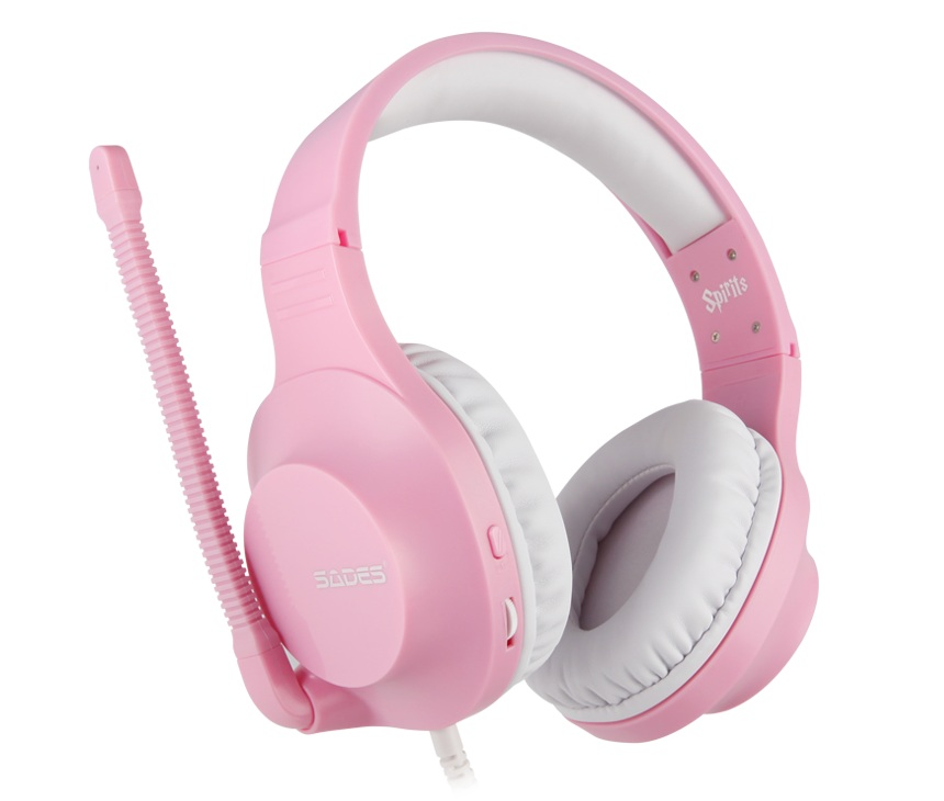 SADES Spirits Gaming Headset Gamer Headphones For PC / Laptop / PS4 / XBOX ONE ( 2015 Version ) / Mobile /VR Pink image