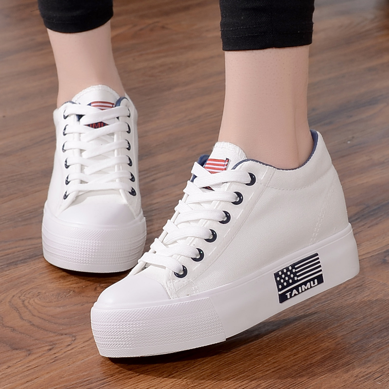 White Canvas Shoes Off White Shoes Women Shoes Women Sneakers New Thick Bottom Lace Up Shoes Womens Shoes Woman Zapatos De Mujer in Women 39 s Vulcanize Shoes from Shoes