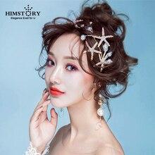 HIMSTORY New Gold Starfish Hair Jewelry Pearl Rhinestone Tiaras Headbands Handmade Bridal Wedding Women Accessories