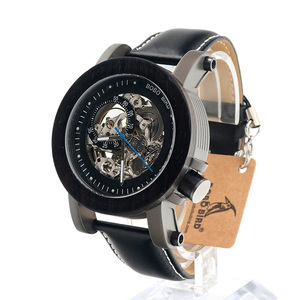 Image 2 - ボボ鳥 K12 自動機械式時計クラシックスタイルの高級男性アナログ腕時計竹木製鋼ギフト木箱