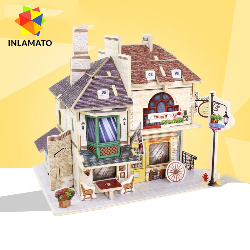 INLAMATO DIY Wooden Dollhouse Modern Miniature Home Model