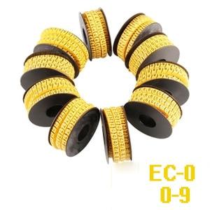 Image 2 - 5000 3000PCS żółty kolor znacznik kablowy mix numer EC 0 EC 1 EC 2 EC 3 kabel drut Marker numer 0 do 9 PVC materiał okablowanie marker