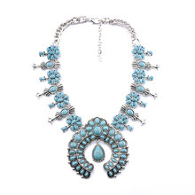 Bohemian Rhinestone Flower Pendant Alloy Necklace European and American Women Wedding Party Fashion Jewelry Accessories цена