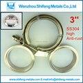 """3 """"Quick V braçadeira Banda flange Kit (Aço Inoxidável 304 Grampo + SUS304 Flange) Para escape turbo downpipe"""