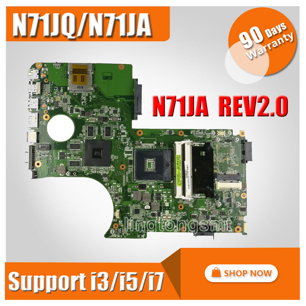 N71J N71JQ N71JA motherboard For Asus N71JA REV2.0 Mainboard Support i3/i5/i7 Processor HD5730 1GB 216-0772003 fully tested k75de motherboard qml70 la8371p rev 1a mainboard hd 7670 1g socket fs1 100% test