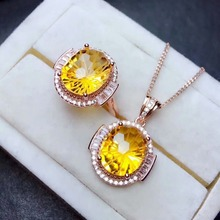 shilovem 925 sterling silver  Piezoelectric citrine Rings pendants send necklace Jewelry women trendy wedding new mtz1012881agj цена в Москве и Питере
