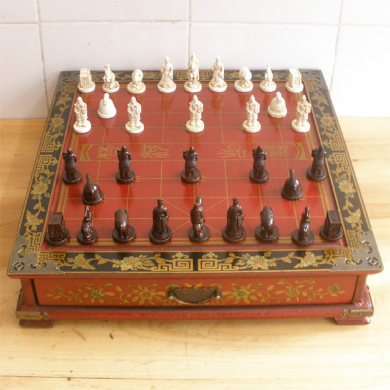 36*36*7cm Retro-Dimensional Chinese Chess Chinese Chess Terracotta Desktop Nostalgic Wooden Chessboard Paragraph No. набор для специй terracotta дерево жизни