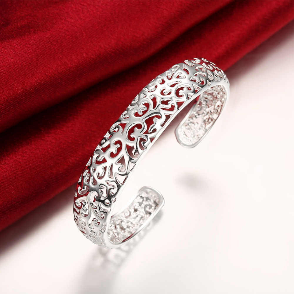 hollow out bangle 925 sterling silver jewelry  nice hollow flower smooth cuff bangle bracelet for women pulseira feminina