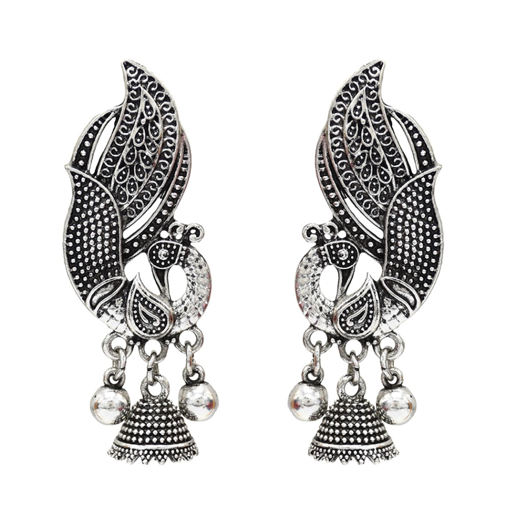 Silver oxidized earrings with embedded stones Indian Traditional Jewellery for Stylish Women and Girls by SP Jewels