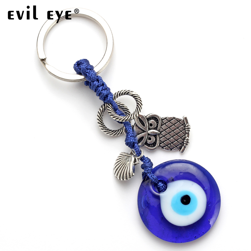 Meibeads Fashion Evil Eye Silver Owl Charm Blue Round Glass Eye Key Chain Pendant For Key Decoration Jewelry Accessories Ey4756 Wide Varieties Key Chains Jewelry Sets & More