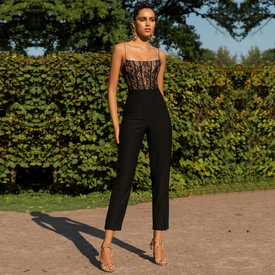 ADYCE Celebrity Runway Bandage   Jumpsuit   For Women 2019 New Summer Sexy Lace Romper Spaghetti Strap Bodycon Club   Jumpsuits