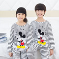 2015 Retail New desenhos animados roupas de criança Homewear pijama define para crianças pijama listrado menina menino 3-13y frete grátis