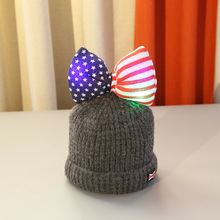 New star striped bowknot glowing children warm beanies Winter cute thick plus velvet knitted beanies