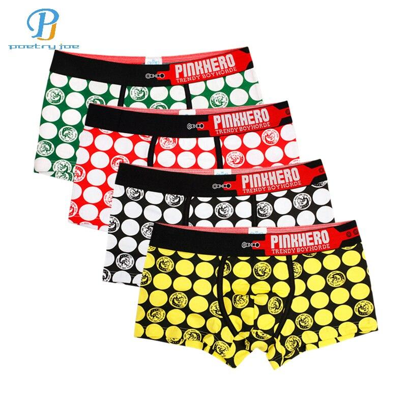 Buy Pink Heroes 4pcs/lot Men Underwear Boxers Cotton Trousers Underwear Men Boxer Brand Cartoon PrintingSexy Mens Underwear Shorts