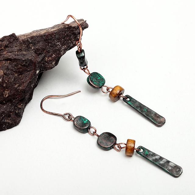Alloy Patina Vintage Metal Wood Drop Earrings