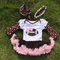 girls football romper  hot sell girl brown pink ruffle  girls Fall veil romper  with necklace and headband