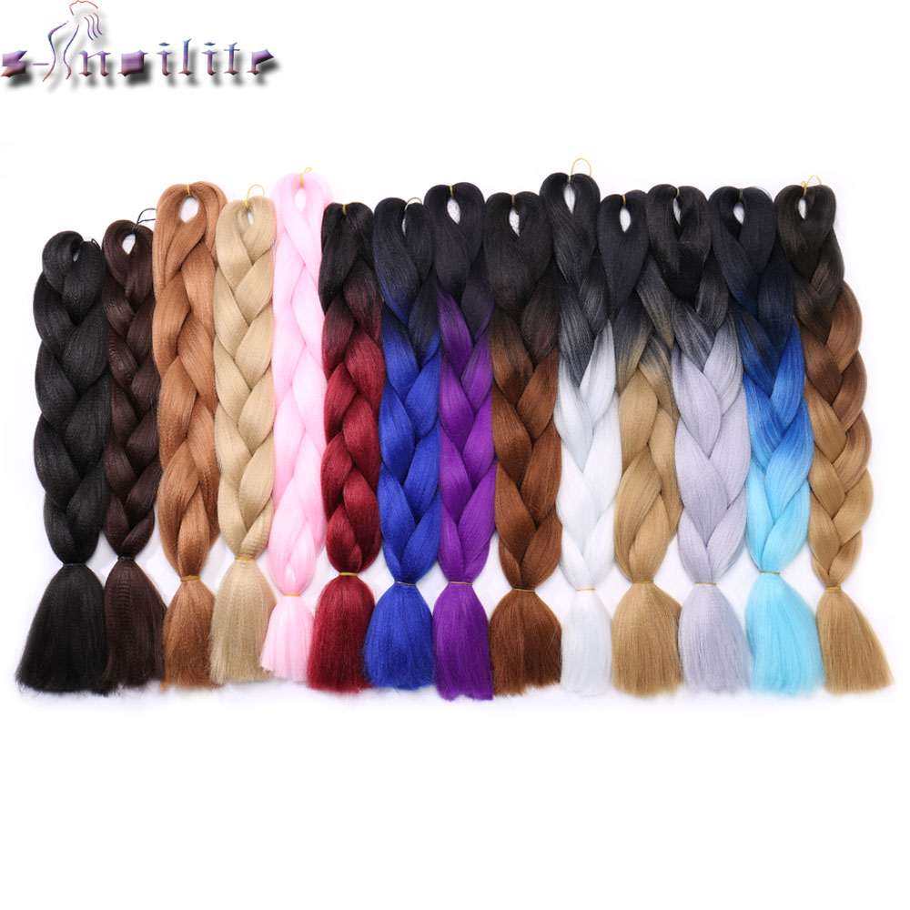 S-noilite 100g/pack 24inch Braiding Hair Ombre Two Tone Colored Jumbo Braids Hair Synthetic Hair For Dolls Crochet Hair Clear And Distinctive Hair Extensions & Wigs Jumbo Braids