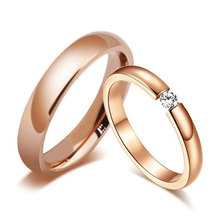 лучшая цена Trendy Bright 585 Rose Gold Tone Engagement Rings for Couples Stainless Steel with CZ Stone Men Women Wedding Bands