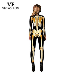 Image 4 - VIP FASHION New Graveyard Halloween Cospaly Costume For Women 3D Skull  Skeleton Ghost Jumpsuits Halloween Bodysuit
