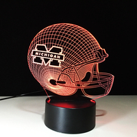 3D LED Rugby Cap Night Light 7 Colorful Football Helmet Table Lamp USB Luminaria Room Decor