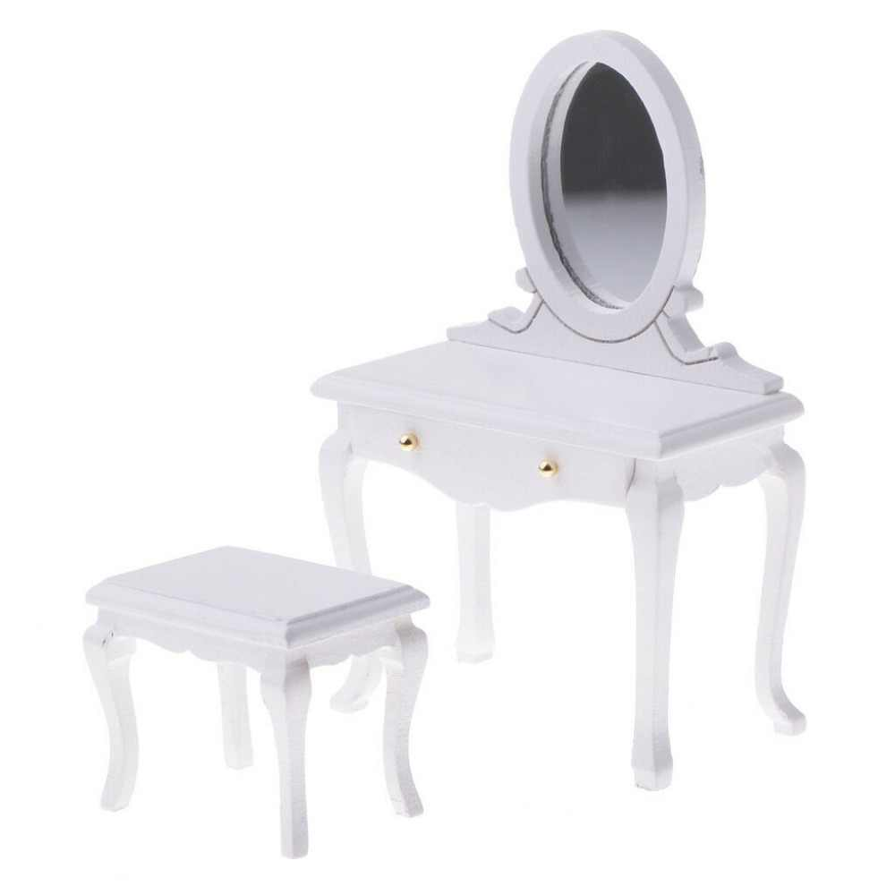 iland 1:12 Dollhouse Miniature Bedroom Furniture Wooden Vanity Box With Mirror Dressing Table & Stool 2pcs 3Colors