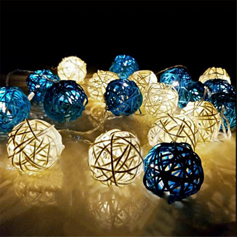 1.5M 10 LED White Blue Rattan Ball Battery String Light Holiday Home Wedding Christmas Party Decor