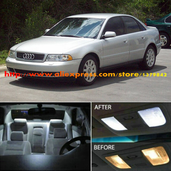 Free Shipping 17Pcs/Lot 12v car-styling Xenon White/Blue Package Kit LED Interior Lights For Audi A4 (B5) Sedan 1998.5 - 2001