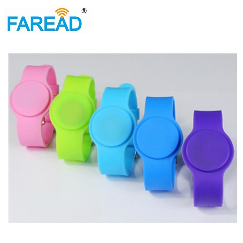 X100pcs Free Shipping  RFID Wristband  For Swimming Pool Sauna Room GYM 13.56mhz Ntag216