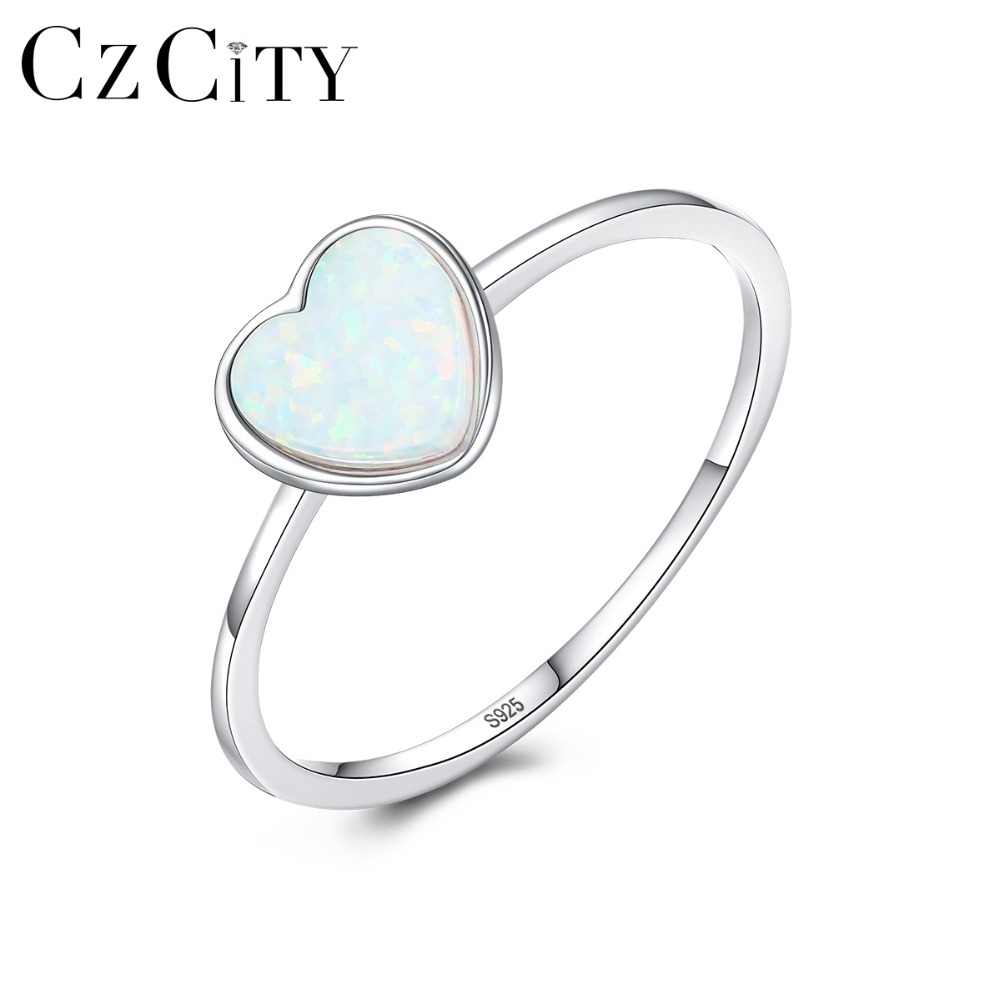 CZCITY Romantic 7mm Heart Fire Opal Rings For Women 925 Sterling Silver 3 Colors Chic Thin Circle Engagement Rings Fine Jewelry