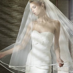 Image 5 - Romantic 3 M Cathedral Wedding Veil 2 Layeres Long Bridal Veils With Comb Ribbon Edge Woman Marry Gifts 2019 New Accessories