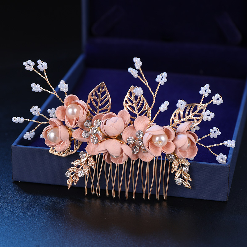 Bridal Tiara Red Satin Flower Golden Leaves Comb Elegant Temperament Pink Flowers Hair Comb Wedding Accessories Bridal Headwear