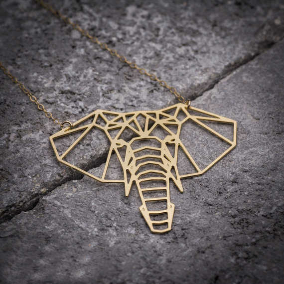 NianDi Lucky Elephant Necklace Origami Elephant Geometric Necklace Animal Gold Jewelry Party Accessories YLQ0557