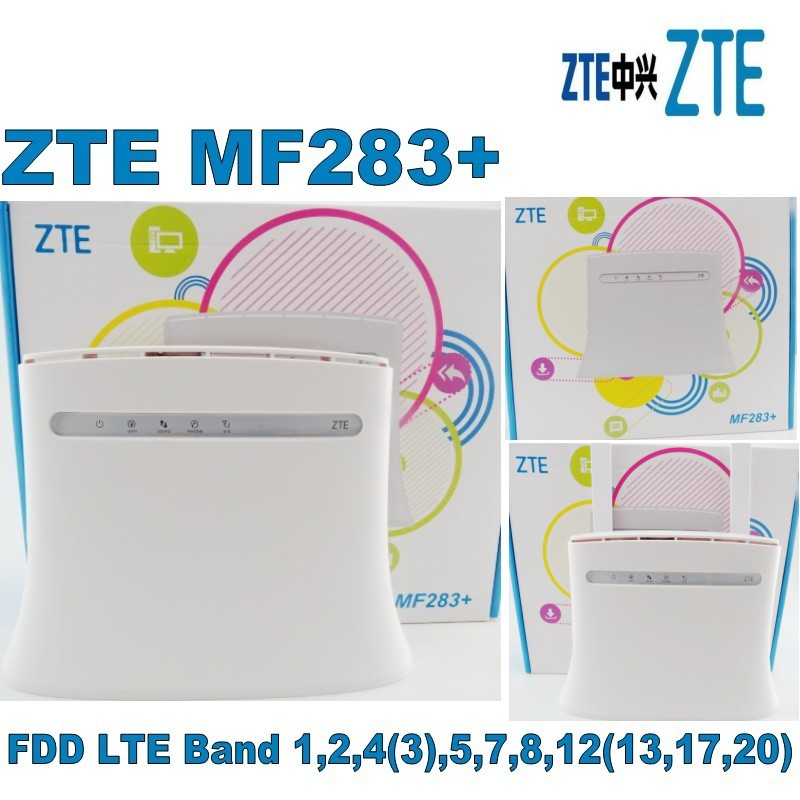 Lot of 10pcs ZTE MF283+ New Arrival Unlock 150Mbps 4G FDD Router wifi router +2PCS SMA ANTENNE,DHL shipping zte mf283 черный