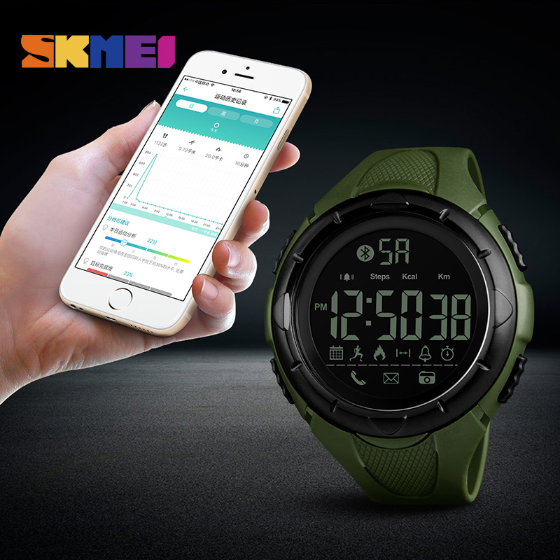 <font><b>SKMEI</b></font> Men Sport Smart Watch Waterproof Pedometer Smartwatches Calorie Bluetooth Watch reloj inteligente for ios android <font><b>1326</b></font> image
