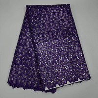 Latest 2017 high level French sequins Purple Net Cloth Africa Mesh Lace Fabric High Quality Nigerian Lace Embroidery Noble Lace