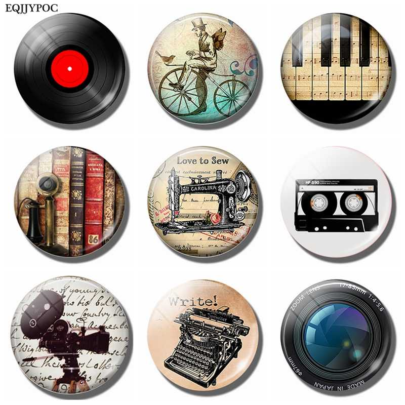 Vinyl Record Refrigerator Magnet Antique Piano Tape Phone Bicycle Camera Sewing Machine Typewriter 30MM Glass Dome Fridge Magnet