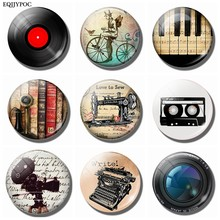 Vinyl Record Refrigerator Magnet Antique Piano Tape Phone Bicycle Camera Sewing Machine Typewriter 30MM Glass Dome Fridge Magnet(China)