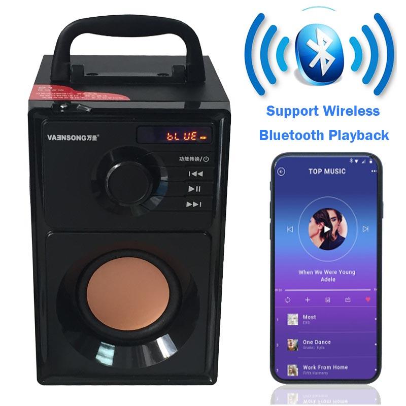 VAENSONG A10 haut-parleur HiFi Bluetooth en bois 2.1 stéréo Subwoofer haut-parleurs portables avec Radio FM et lecteur de musique MP3 colonne USB