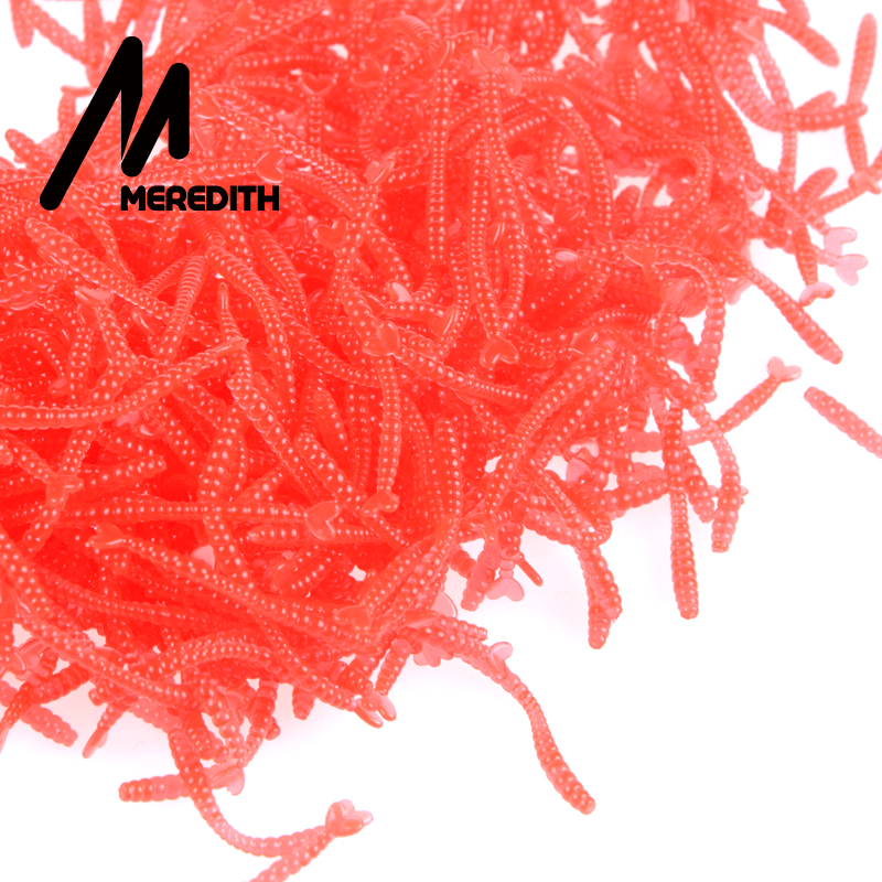 Meredith 500pcs Smell Red Worm Lures 2cm Hot-selling  Soft Bait Carp Fishing Lure Set Artificial Fishing Tackle JXC01-2 meredith lure jx51 10 retail hot model 5pcs 95mm 7 9g quality artificial bait fish fishing soft lures