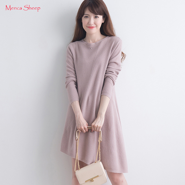f6d83ae8acb Menca Sheep Women Dress 100% Cashmere Pullovers Oneck Long Asymmetrical  Lady Fashion Winter Warm Long Knitting Dresses