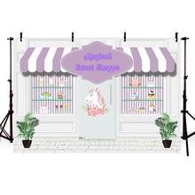 7x5FT Photo Background Magical Sweet Shoppe Backdrop Baby Shower Photography Backdrops Prince Charming Ice Cream Rainbow цена