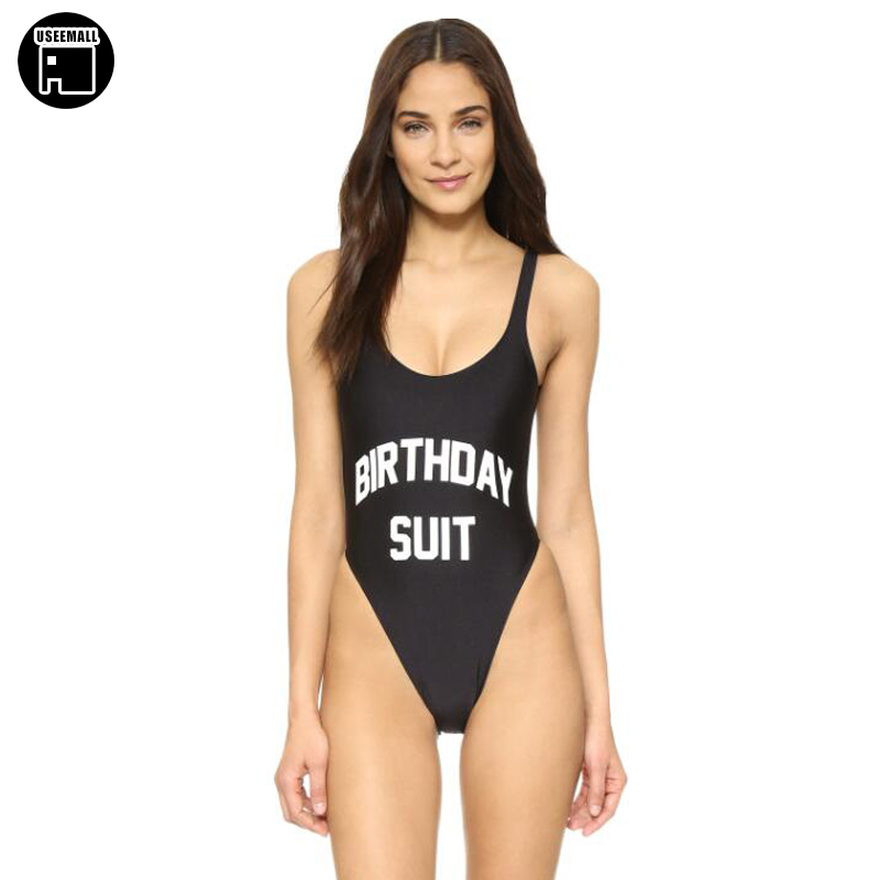 Useemall Black One Piece Swimwear Sexy Women Adult Birthday Party