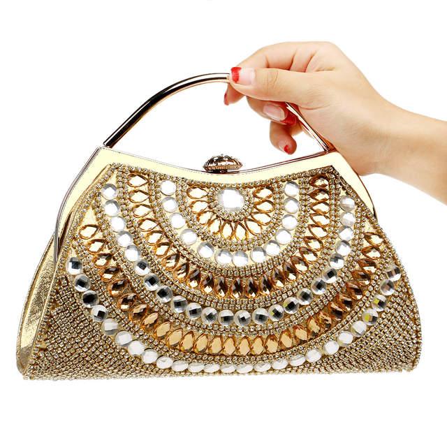 Us 26 85 25 Off Luxury Women Clutch Bags Diamonds Rhinestones Gold Blue Totes Handbags Chain Evening Wedding Bridal Bags Ladies Dress Dinner Bag In