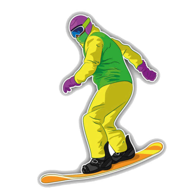 Yjzt 11cm 15 2cm Cartoon Snowboarder Sliding Pvc Motorcycle Car Sticker 11 00348 Aliexpress