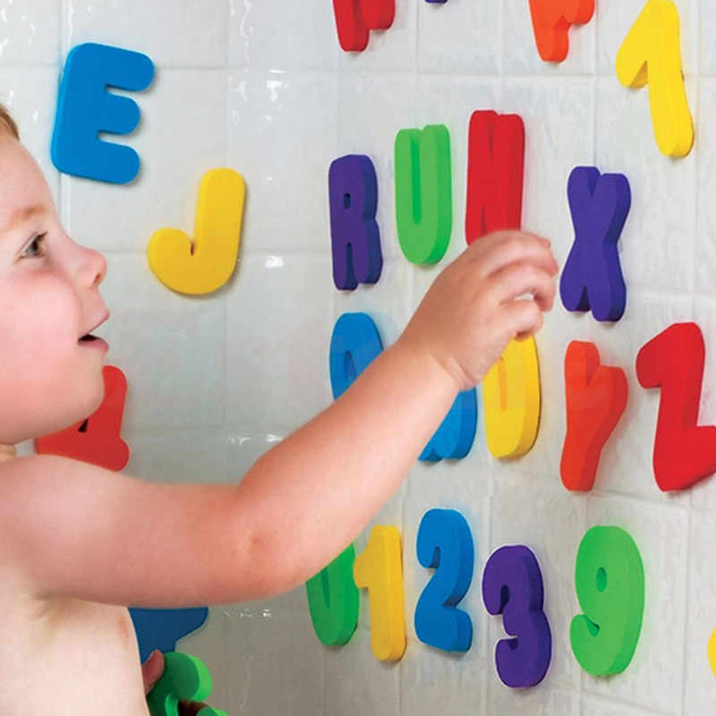 Küvet banyo eğitim öğretici oyuncaklar köpük harfler alfanümerik toplam kabarcık çıkartmalar çocuk bulmaca DIY oyuncak seti 36 adet yeni