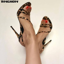 TINGHON Sexy High Heels Sandals Summer Ankle Striped Thin Heel Cross-tied Peep Toe Shallow Leopard Print Party Sandal Size 35-40